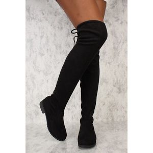 DSW thigh high black swede boots